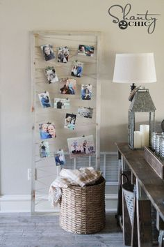 $6 DIY Photo Display Tutorial by Shanty2Chic. A cute way to display  photos and easily swap them out with growing kids!