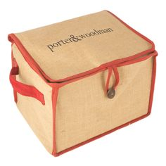 H14 Christmas Jute Hamper with printed lid