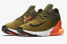 bdb56da1d475 Now Available  Nike Air Max 270 Flyknit Olive Flak Total Orange