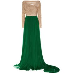 DELPOZO Ruched silk-blend tulle gown (61,420 MXN) ❤ liked on Polyvore featuring dresses, gowns, vestidos, delpozo, green, fitted gowns, ruched evening gown, green fitted dress, tulle evening dress and green evening dresses