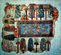 Ancient Egyptian garden, fragment from the Tomb of Nebamun, 1400BC  The motif of a paradise-like garden with lush vegetation is present in much of the ancient Near Eastern literature, especially in Sumerian mythology. In the Genesis story, Eden seems to be located near the Persian Gulf, perhaps at Bahrein, which is also the location of the mythical garden called Dilmun, in the Sumerian myth. Diagram showing reconstruction of ancient hydralic pump
