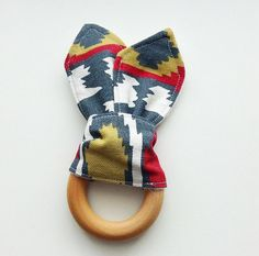 Wooden Teether, Natural Teething Ring, Everest Tula Accessory, Bunny Ear Teether, Baby Shower Gift
