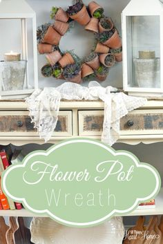 This little flower pot wreath is sure to bring springtime right into your home! Adding real or faux succulents make the wreath bring the outside in!