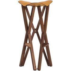 Caon Arreda Treee Camp folding stool - Walnut (155 KWD) ❤ liked on Polyvore featuring home, furniture, stools, walnut stool, walnut wood furniture, folding furniture, walnut furniture and folding stool