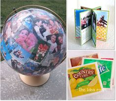 How to Make a  Tissue Photo Globe – Jen made this globe for her husband's 40th birthday, covering it with photos of the past 40 years.  This would be a great anniversary, mother's day or father's day gift.