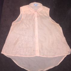 Peach Chiffon Sleeves Top, Perfect for Spring! Light Peach Chiffon Blouse. High/Low Too. Lightly Worn. Tops Blouses