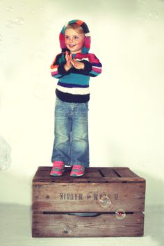 Knitted striped hoodie girl. €59,95, via Etsy.