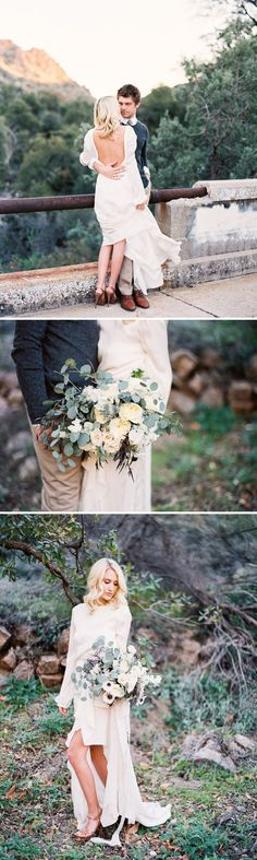Beautiful Arizona Canyon Wedding Ideas | Wedding Sparrow | Mary Claire Photography - long sleeve gown and neutral florals