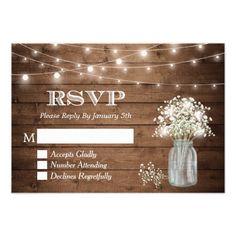 Mason Jar Wedding Invitations Baby's Breath Mason Jar String Lights Wedding RSVP Card