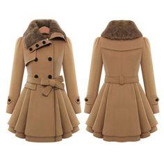 Women's Winter Slim Long Wool Sherpa Coat Double Breasted Padded Korean Cashmere Coat England Style Plus Size Trench Winter Coats Women, Coats For Women, Jackets For Women, Clothes For Women, Stylish Winter Coats, England Mode, Fur Casual, Khaki Coat, Camel Coat