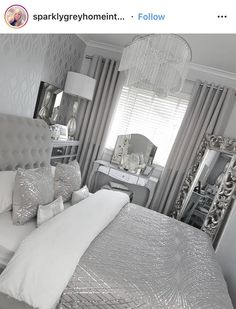 The Fundamentals Of Silver Bedroom Decor Ideas Grey Revealed 44 Silver Bedroom Decor, Room Decor Bedroom, Home Bedroom, Living Room Decor, Bedroom Storage, Bedroom Ideas, Bedroom Inspo, Bed Room, Silver And Grey Bedroom