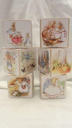 Beatrix Potter Peter Rabbit Book Puzzle Wood Blocks  Nursery Room Decor Baby Shower Decoration Birthday Party Toddler Building Toys Set of 6. $27.00, via Etsy.