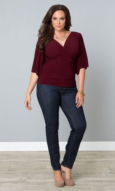 Opt for a luxe top that just begs for attention. Most popular Keira Kimono Sleeve Top in Merlot. Shop www.curvaliciousclothes.com