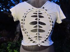 Hand Crafted Weaved Braided Laddered T Shirt For Women Size Small/Medium via Etsy