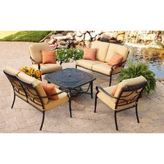 Better Homes and Gardens Paxton Place 5-Piece Outdoor Conversation Set with Fire Pit