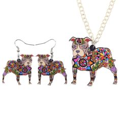 Bonsny Brand Jewelry Sets Acrylic Pit Bull Dog Necklace Earrings Choker Collar Fashion Jewelry 2016 News Spring Women Girl Gift