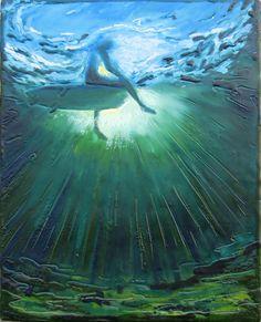 "Encaustic beeswax painting collage - Big Blue Deep by Daina Scarola, 12""x9"" (surf art, underwater, surfer, sun rays)"