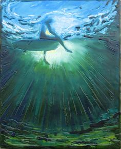 "Encaustic beeswax painting collage - Big Blue Deep by Daina Scarola, 12""x9"" (surf art, underwater, surfer, sun rays)"
