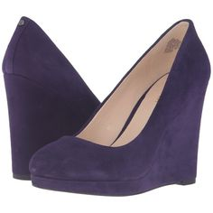 Nine West Halenia (Dark Purple Suede) Women's Shoes ($70) ❤ liked on Polyvore featuring shoes, purple, wrap shoes, dark purple shoes, slip-on shoes, suede wedge shoes and suede slip on shoes
