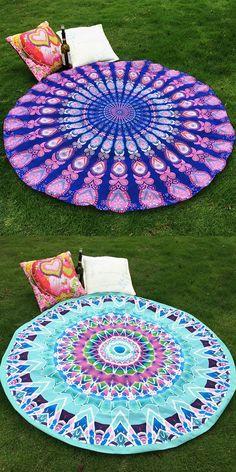 Loving these!  Mandala Totem Soft Grass Cover / Satin Round Beach Towel / Scarf