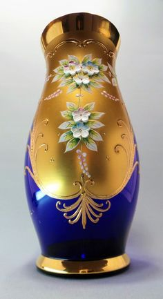 Luxuoso Vaso Em Vidro Azul Cobalto Com Desenhos Florais Pintados à Mão e…