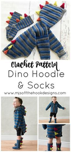 Baby Knitting Patterns Hoodie Ravelry: Dino Hoodie and Socks pattern by MJ's Off The Hook Designs . Crochet Hoodie, Crochet Socks, Crochet Gifts, Crochet Stitches, Knit Crochet, Knitted Slippers, Crochet Granny, Crotchet, Crochet Sweaters