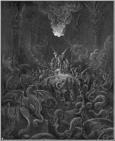 Gustave Dore - The Devils are turned into serpents as punishment Satanic Art, Dark Artwork, Arte Obscura, Demon Art, Macabre Art, Occult Art, Arte Horror, Catholic Art, Angels And Demons