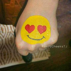 Love and Hearts Emoji face painting by FunnyCheeksTJ Dallas Face Painter