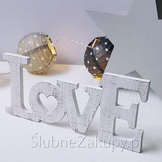 NAPIS dekoracyjny z sercem LOVE 25cm