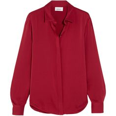 DKNY Stretch-silk crepe de chine blouse (9,025 THB) ❤ liked on Polyvore featuring tops, blouses, shirts, dkny, long sleeves, red long sleeve shirt, slouchy shirts, extra long sleeve shirts, long sleeve shirts and dkny shirts
