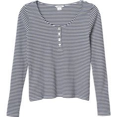 Monki Valerie top ($17) ❤ liked on Polyvore featuring tops, shirts, long sleeves, sweaters, stripe top, stripe shirt, striped shirt, long sleeve shirts and blue striped shirt