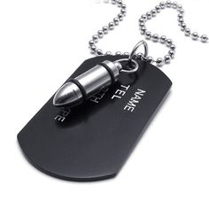 TEMEGO Jewelry Mens Alloy Army Style Dog Tag Gothic Bullet Pendant Necklace Chain Necklace, Black Silver -- Click on the image for additional details.