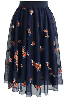 Trig Florets Mesh Midi Skirt in Navy- New Arrivals - Retro, Indie and Unique Fashion - Tap th Mode Outfits, Skirt Outfits, Dress Skirt, Dress Up, Navy Skirt, Waist Skirt, Look Fashion, Unique Fashion, Womens Fashion