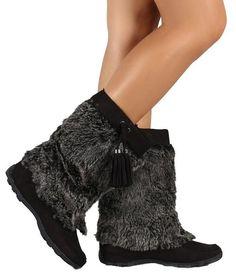 Mukluks Soft Vegan Furry Suede Tassel Winter Flat Boot Black