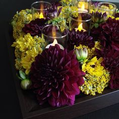#c2mdesigns #floral #floraldesign #florist #centerpiece #dahlia #yarrow burgundy #yellow #pictureframe #shadowbox #votive #led #autumn #fall #event #corporateevents #simplicity #texture #minimalist #designsthatrock Designer: #christinemccaffery #rhodeisland #boston #willtravel