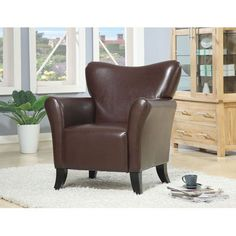 Brown Contemporary Vinyl Upholstered Chair