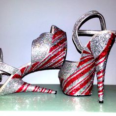 PEPPERMINT TWIST silver red candy cane swirl sexy Christmas crystal exotic dancer stripper burlesque nightclub 6 inch Pleaser platform heels on Etsy, £85.59