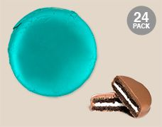 Turquoise Belgian Chocolate Drenched Oreo Cookies Foil Wrapped: 24 Pack of Chocolate Covered OREO Cookies Individually Wrapped in a Turquoise Wrapper