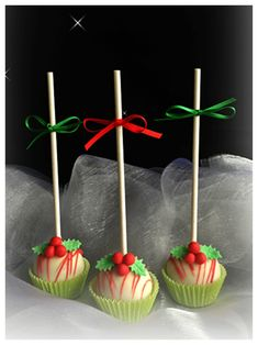 Cake Pops / Cake Balls - Christmas Cake Pops- upside down in a cupcake liner with a bow on top :)