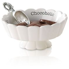 Mud Pie White 2-Piece Circa Scalloped Chocoholic Candy Dish And Scoop... ($18) ❤ liked on Polyvore featuring home, kitchen & dining and white