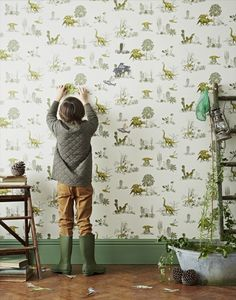 dinosaur wallpaper for kids room interior Dinosaur Wallpaper, Kids Wallpaper, Wallpaper Roll, Room Wallpaper, Bedroom Themes, Kids Bedroom, Bedroom Decor, Childrens Bedroom, Room Kids
