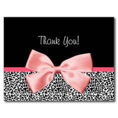 Trendy Thank You Leopard Print With Pink Ribbon Post Card http://www.zazzle.com/trendy_thank_you_leopard_print_with_pink_ribbon_postcard-239956600325766122?rf=238835258815790439