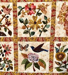Detail, The Caswell Quilt, by Cynthia Colier; Telling Stories Through the Needle's Eye: It's All About Appliqué! Applique Pillows, Applique Quilt Patterns, Pattern Blocks, Applique Ideas, Caswell Quilt, International Quilt Festival, Sewing Appliques, Penny Rugs, Telling Stories