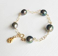 Tahitian pearls links bracelet (B244)