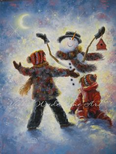 Snowman Two Girls Art Print snowman paintings by VickieWadeFineArt