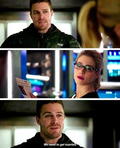 Ugh!! Oliver soo wants to get married to Felicity, but Felicity loved Oliver but doesn't want to be with him!! Why??? #Olicity needs to be together!