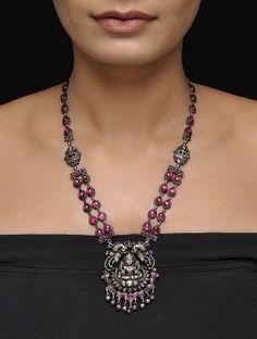 Pink Silver Necklace with Goddess Lakshmi Design