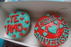 Cupcakes de aniversario ¡Viva el amor!