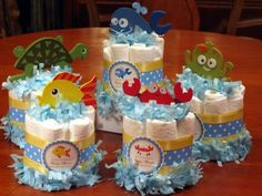 Turtle Baby Shower Theme | OCEAN FISH SEA baby shower mini diaper cake centerpiece favors by laurie