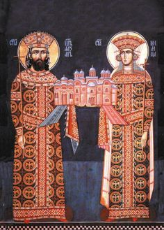 Knez Lazar i knjeginja Milica, rekonstrusian ktitorski portret iz manastira Ravanice. Kraj 14. veka.  Prince Lazar and princess Milica, reconstructed donor portrait form monastery Ravanica. End of the 14th, century. Early Modern Period, Fresco, Belgrade Serbia, Late Middle Ages, Novi Sad, Medieval Clothing, Orthodox Icons, Serbian, 15th Century